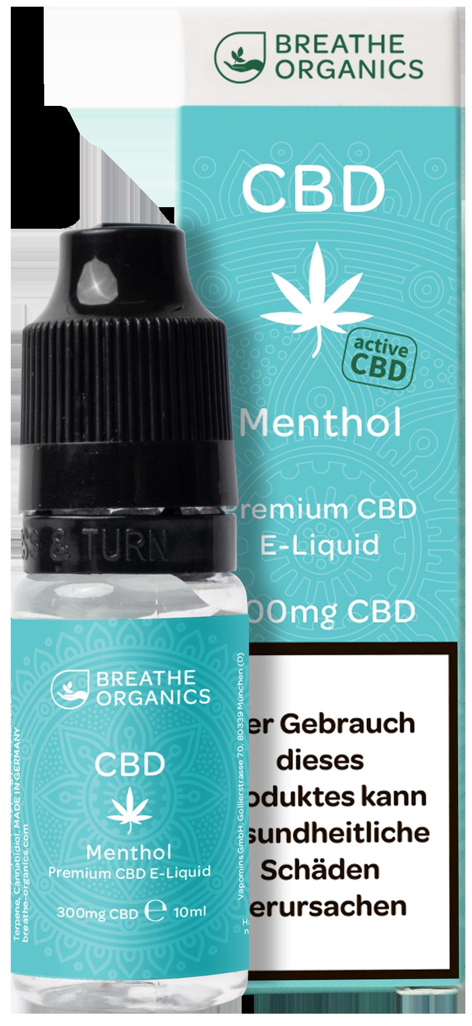 Breathe Organics activeCBD Liquid Menthol 300mg